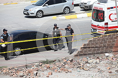 Explosion at Istanbul police station Editorial Photo