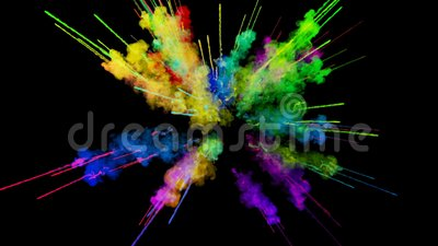 Explosion of powder isolated on black background. 3d animation of particles as colorful background or overlays effects. Explosion of powder on black background vector illustration