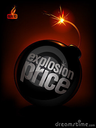Explosion Price, sale background.