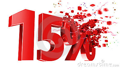 Explosive 15 percent off on white background