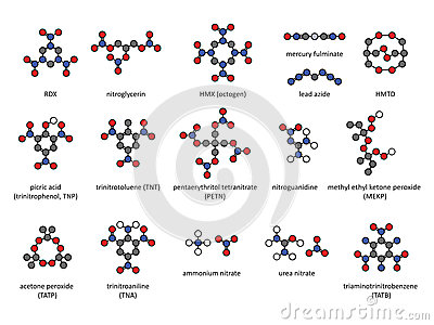 Explosive compounds, 2D chemical structures (set).