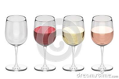 Exponeringsglas av vin - uppsättning