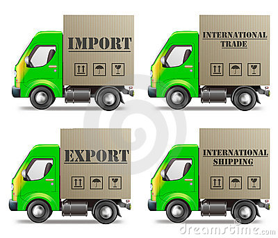 Export or import international trade and delivery