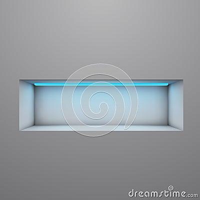 Exposition shelf illuminated