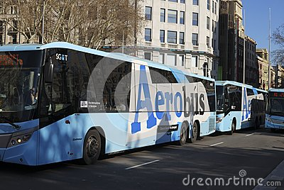 Airport buses in city centre. Barcelona. Spain Editorial Stock Image
