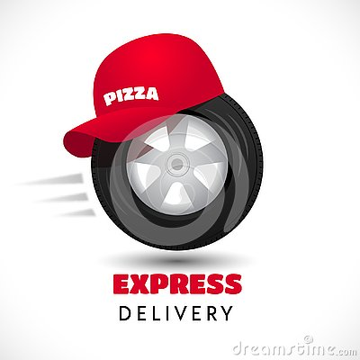 Express delivery icon wheel and red cap Vector Illustration