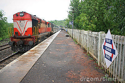 Express train halt on Konkan Railway India