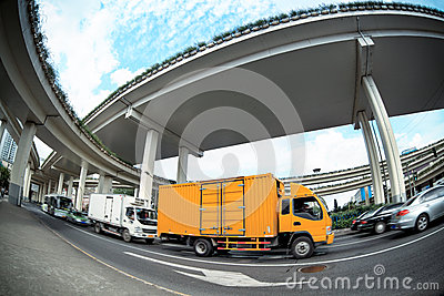 Express truck under the viaduct