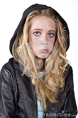 Free Expression Girl Sad In Black Stock Photo - 11419450