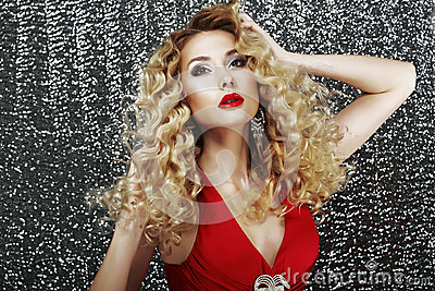 Expression. Glamorous Classy Lady in Red Dress in Reverie. Luxury