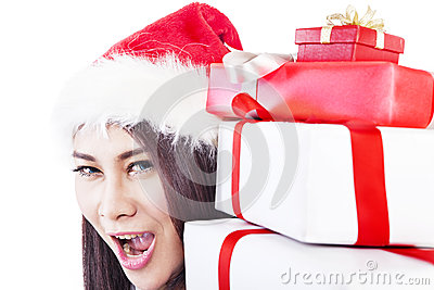 Expression of happy woman with christmas gift