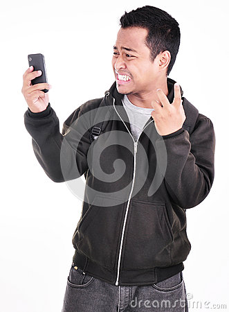 The expression of a man who does not like the phone