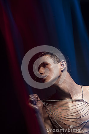 Free Expression. Portrait Of Artistic Glamorous Man Fashion Model Stock Photography - 29329292