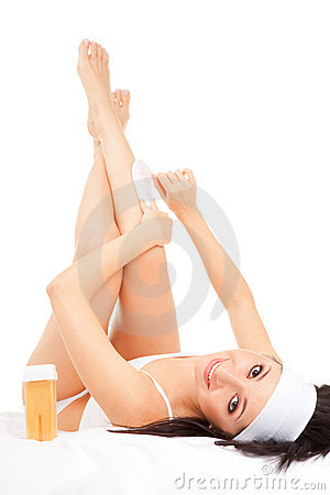 Expression woman depilating legs
