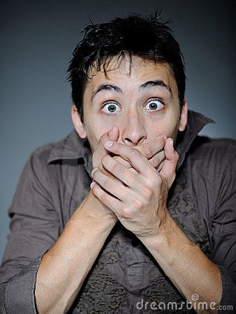 Free Expressions. Handsome Young Man Feeling Fear Stock Photography - 16537932