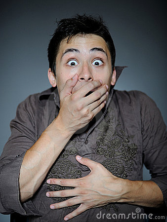 Free Expressions. Man Is Terrified And Feeling Fear Stock Photography - 15884552
