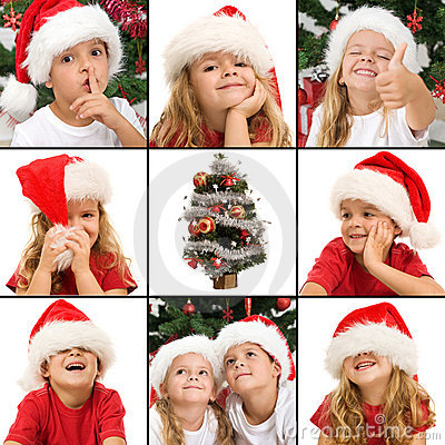 Free Expressions Of Kids Having Fun At Christmas Time Stock Photography - 21337652