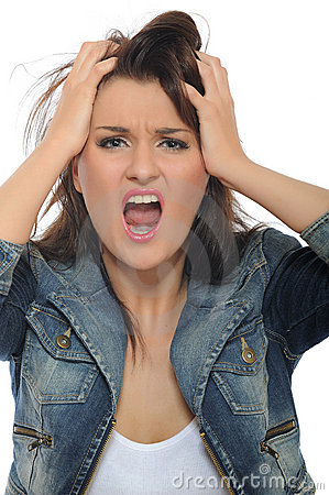 Expressions.Young attractive woman screaming