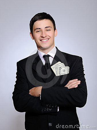 Free Expressions.Young Handsome Business Man With Money Royalty Free Stock Photos - 16298488