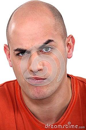 Expressive bald man