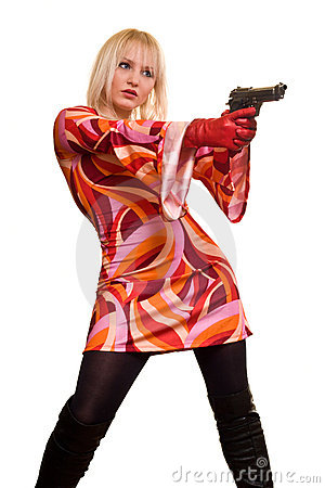Expressive blonde and gun