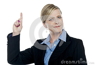 Expressive businesswoman with pointing finger