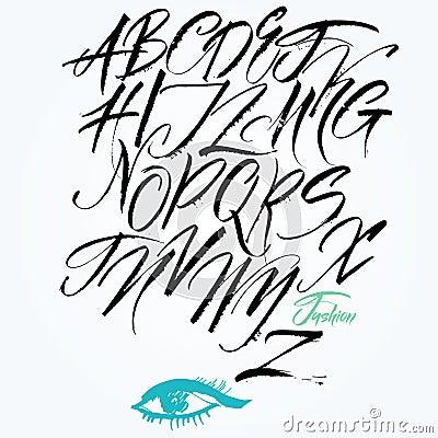 Expressive calligraphic script. Capital letters.