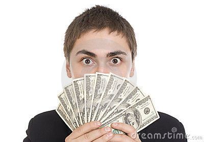 Expressive man with dollar bills