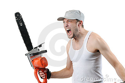 Expressive man with electric saw