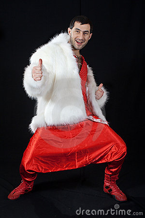 Expressive man in white fur coat.