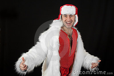 Expressive man in white fur coat.