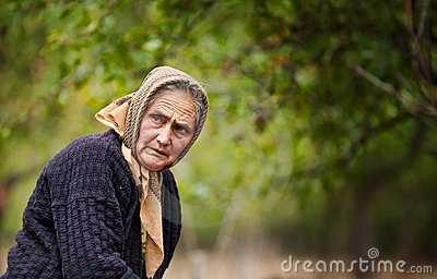 Expressive old woman outdoor