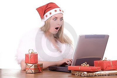 Expressive woman in Santa hat