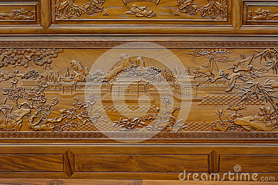 Exquisite sculpture on wooden furniture in Chinese traditional style
