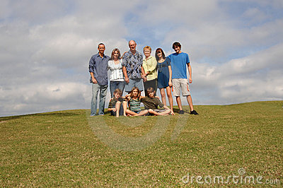 Extended family on hill
