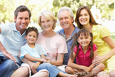 Extended Group Portrait Of Family Enjoying Day