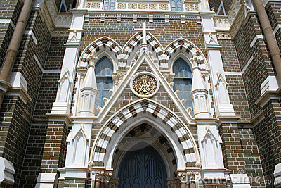 Exterior architecture of Mount Mary Church in Bandra, Bombay  In