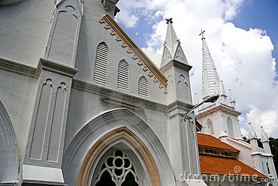Exterior of old white church
