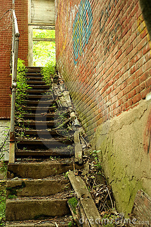 Exterior staircase on a abandoned building