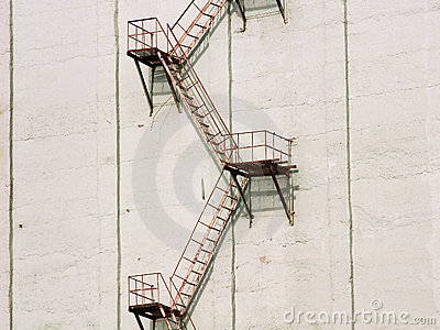Exterior stairs on white wall