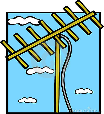 exterior television antenna vector illustration