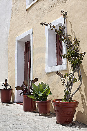 Exterior view of a mediterranean house.