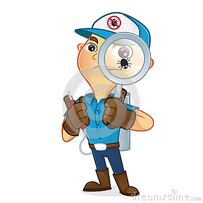 Exterminator holding magnifying glass Stock Photo