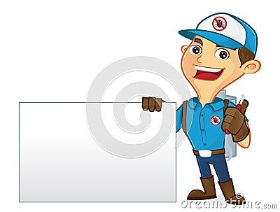 Exterminator holding pest sprayer and blank sign Stock Photo