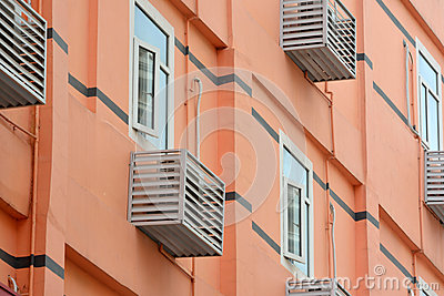 Residence building with air conditioner unit outside