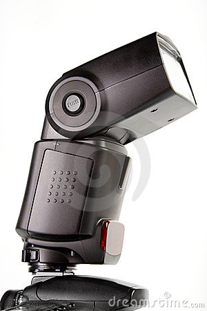 Free External Flash Mounted On Camera Top Stock Image - 9761581