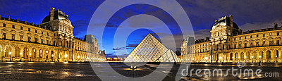 External night panoramic view of the Louvre Museum (Musee du Louvre) Editorial Stock Photo