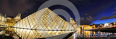 External night view of the Louvre Museum (Musee du Louvre) Editorial Stock Photo