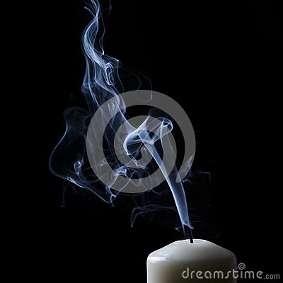Free Extinguished Candle With Blue Smoke Royalty Free Stock Image - 34872426