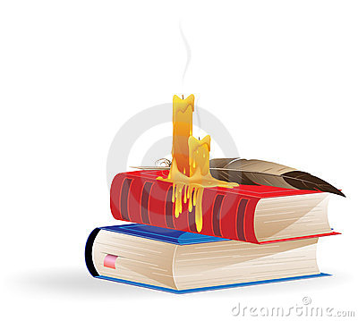 Extinguished candles and books